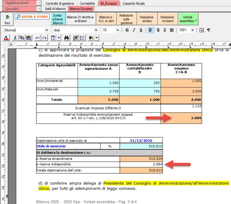 Bilancio Europeo 2021 esercizio 2020 e Tardivo 2016-17: Novità: Tabella verbale assemblea