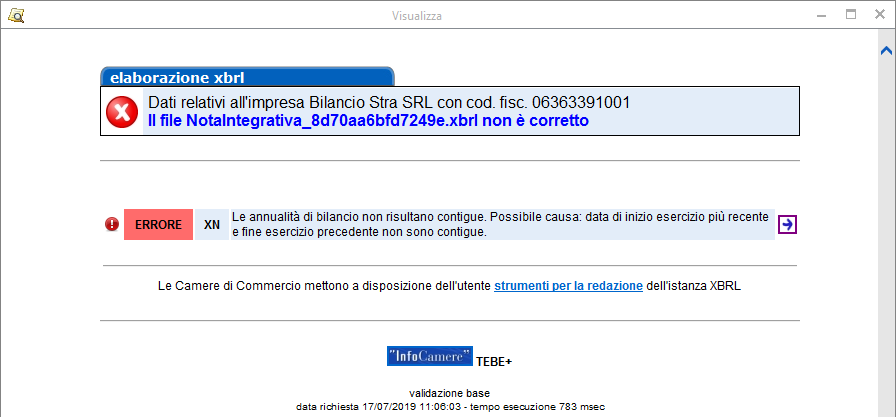 Bilancio XBRL: errori frequenti di validazione – messaggio errore per date non contigue