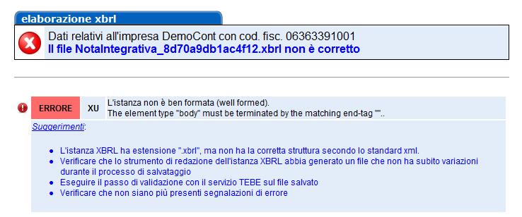 Bilancio XBRL: errori frequenti di validazione - Messaggio di errore per inserimento istanza non ben formattata
