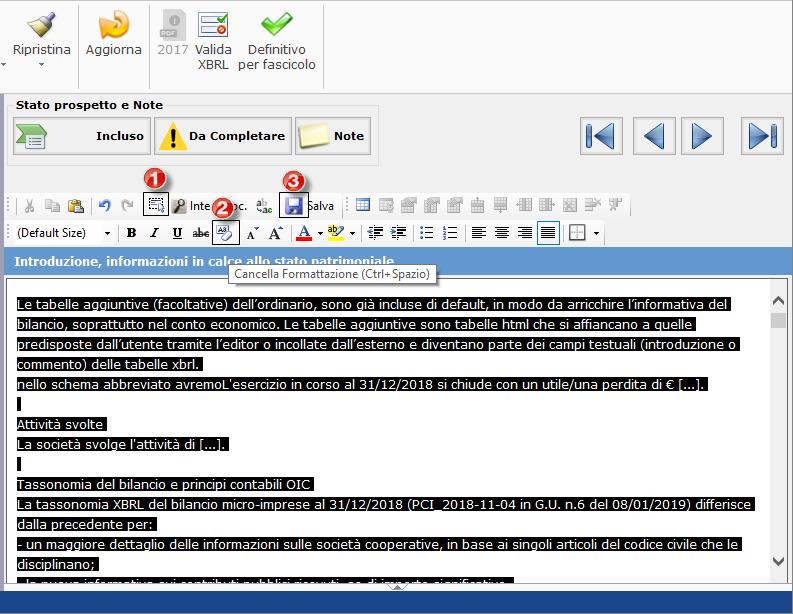 Bilancio XBRL: errori frequenti di validazione - Una soluzione è quella di eliminare la formattazione