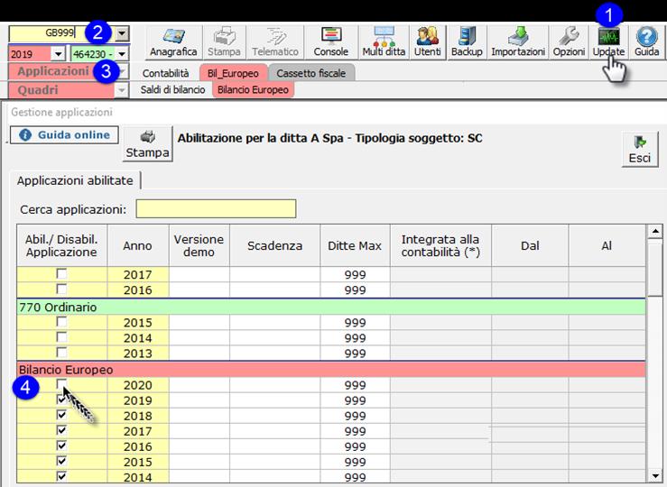 Corretto flusso fino alla validazione XBRL: Bilancio Europeo: abilitazione applicazione Bilancio Europeo per annualità