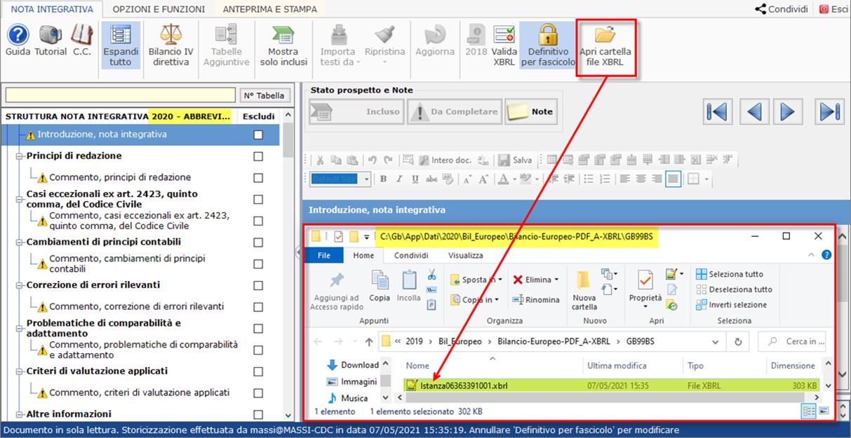 Corretto flusso fino alla validazione XBRL: Bilancio Europeo: file xbrl