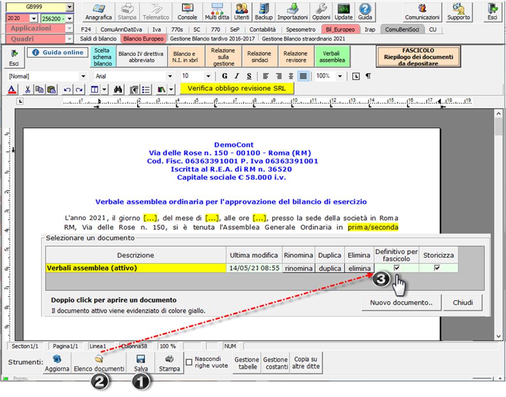 Corretto flusso fino alla validazione XBRL: Bilancio Europeo: menu documento reso definitivo per fascicolo