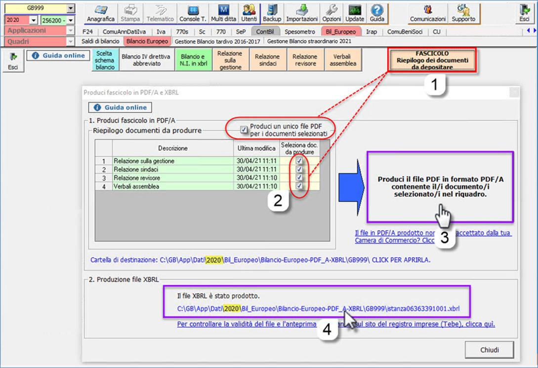 Corretto flusso fino alla validazione XBRL: Bilancio Europeo: produci pdf/a