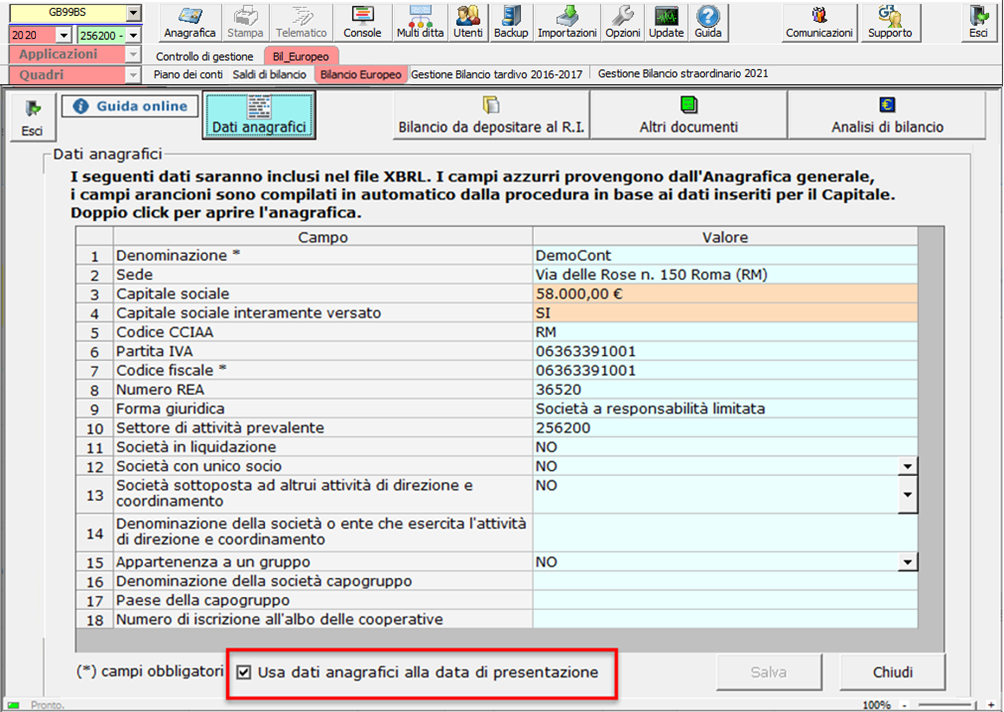 Corretto flusso fino alla validazione XBRL: Bilancio Europeo: usa dati anagrafici alla data di presentazione