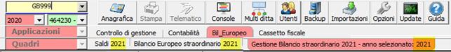 Bilancio Straordinario 2021: applicazione disponibile: ridenominazione di tutti i menù del bilancio