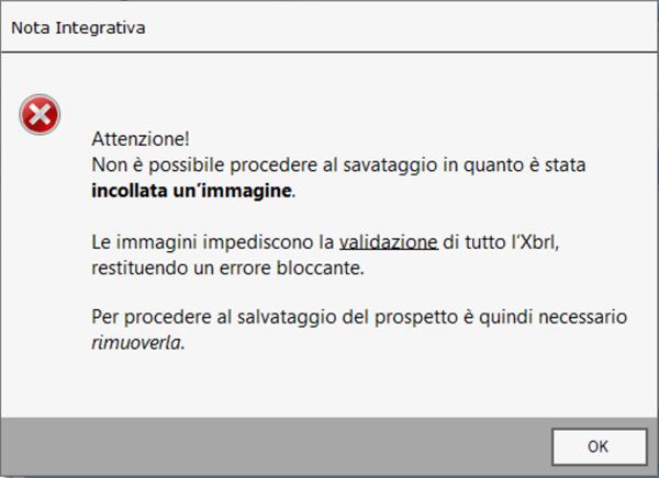 Bilancio XBRL: Divieto di inserimento immagini: messaggio di errore del software bilancio GB