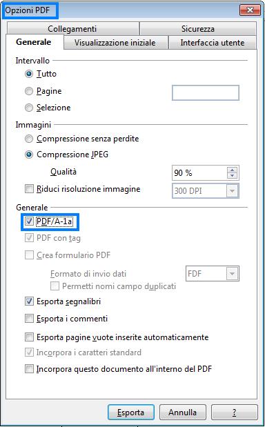 La Camera di Commercio non accetta il file PDF/A, che fare?: in sezione generale mettere check su pdfa-1