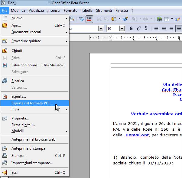 La Camera di Commercio non accetta il file PDF/A, che fare?: esporta file