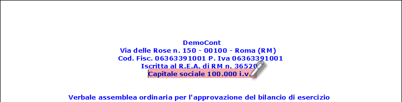 Capitale Sociale in Bilancio Europeo: come inserire e modificare – digitare in intestazione verbale il capitale