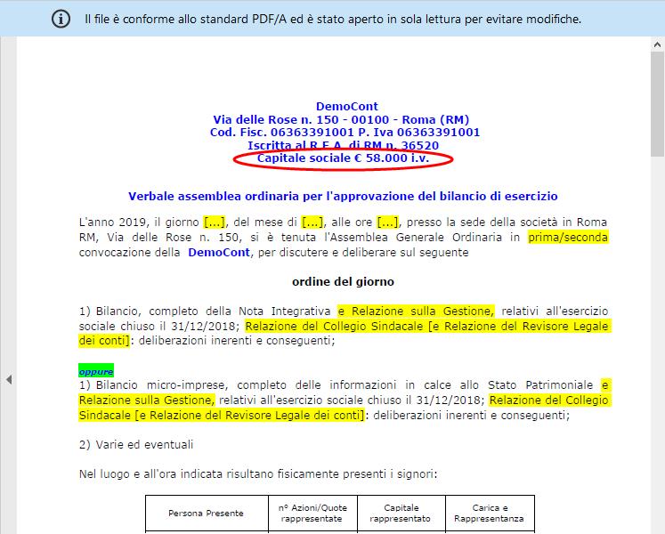Capitale Sociale in Bilancio Europeo: come inserire e modificare – verbale assemblea in pdf/a