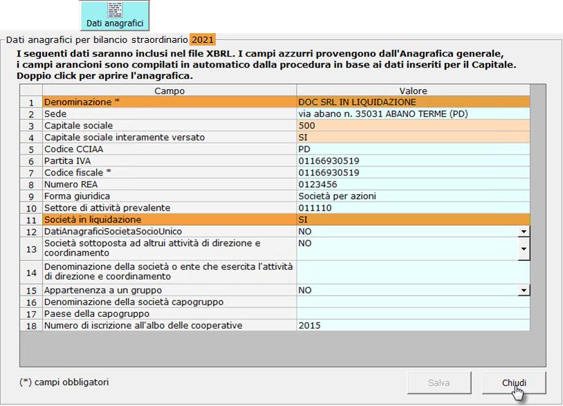 Bilancio finale di liquidazione con Straordinario: Caso pratico: controllo denominazione e status giuridico aggiornati alla liquidazione
