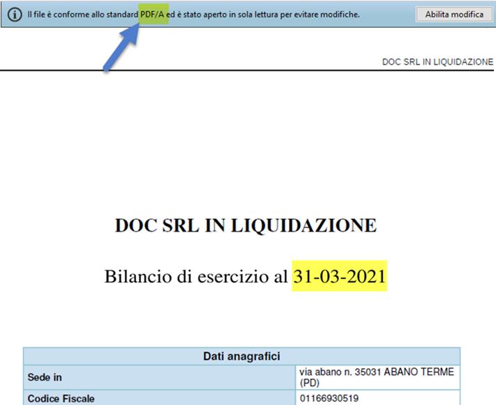 Bilancio finale di liquidazione con Straordinario: Caso pratico: pdf/a