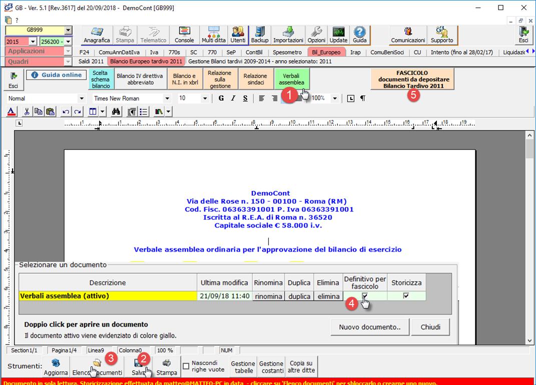 Caso pratico: Mancato deposito bilanci dal 2011 al 2019: da elenco documenti impostare definitivo per fascicolo