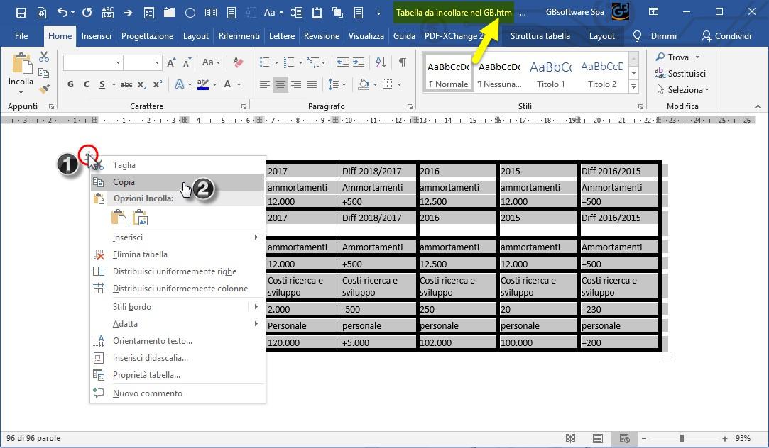 Nota Integrativa: come incollare tabelle e testi nell'Editor – tabella senza caratteri speciali, possiamo copiarla