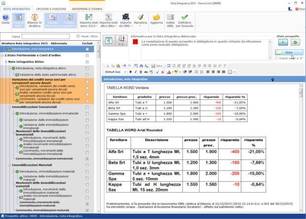 Nota Integrativa: come incollare tabelle e testi nell'Editor – incollare su nota integrativa e salvare