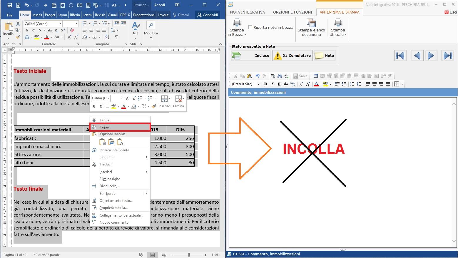 Nota Integrativa: come incollare tabelle e testi nell'Editor – non si possono incollare insieme testi e tabelle nell'editor