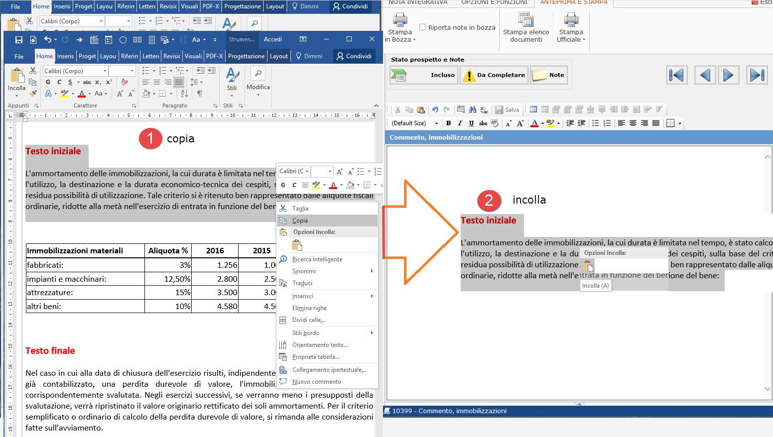 Nota Integrativa: come incollare tabelle e testi nell'Editor – prima va incollato il testo