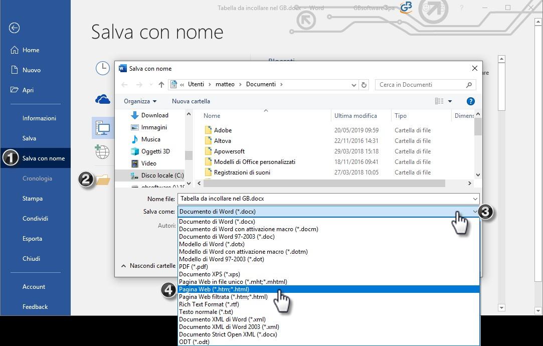 Nota Integrativa: come incollare tabelle e testi nell'Editor – salvare file word in formato html
