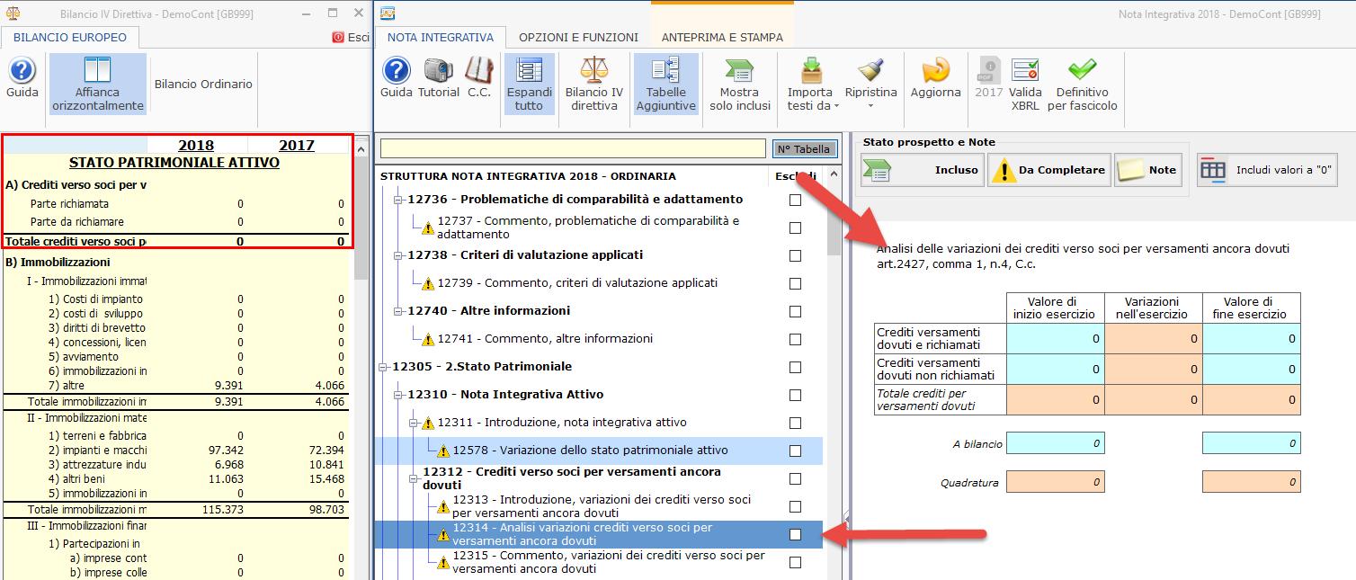 Nota Integrativa: Tabella XBRL - individuare tabella analisi crediti verso soci