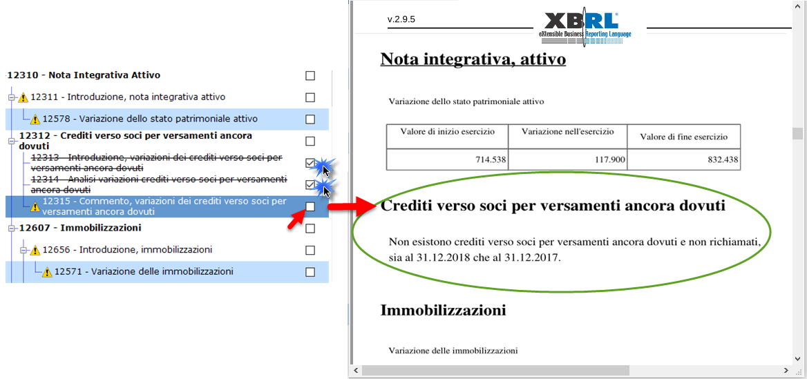 Nota Integrativa: Tabella XBRL - nota integrativa prima esposizione
