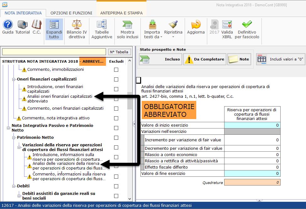 Nota Integrativa: Tabella XBRL - Nota integrativa nello schema di bilancio abbreviato