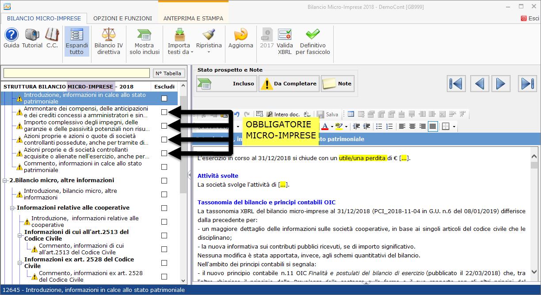 Nota Integrativa: Tabella XBRL - Nota integrativa nello schema di bilancio micro-imprese