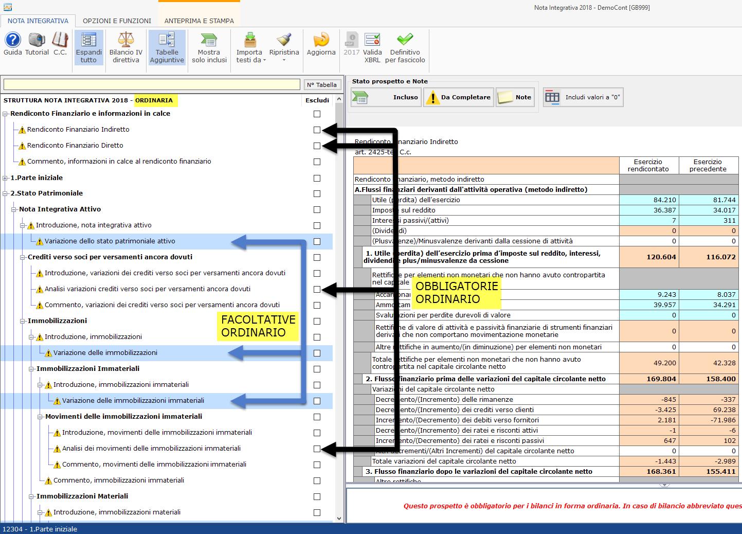 Nota Integrativa: Tabella XBRL - Nota integrativa nello schema di bilancio ordinario