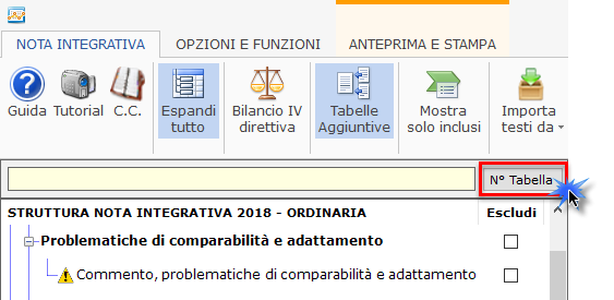 Nota Integrativa: Tabella XBRL - In nota integrativa selezioniamo visualizzazione identificativo