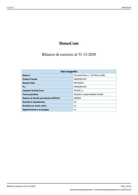 Anteprima PDF del frontespizio della Nota Integrativa