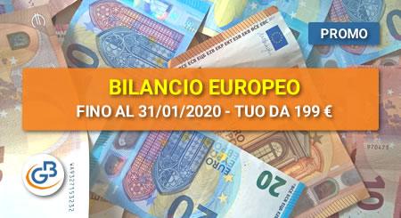 AFFRETTATI! Fino al 31 gennaio 2020 Bilancio Europeo GB è tuo da € 199 (anziché 259)