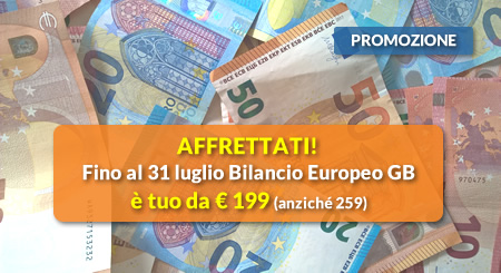 AFFRETTATI! Fino al 31 luglio Bilancio Europeo GB è tuo da € 199 (anziché 259)
