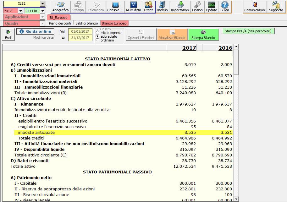 Software Bilancio Europeo GB