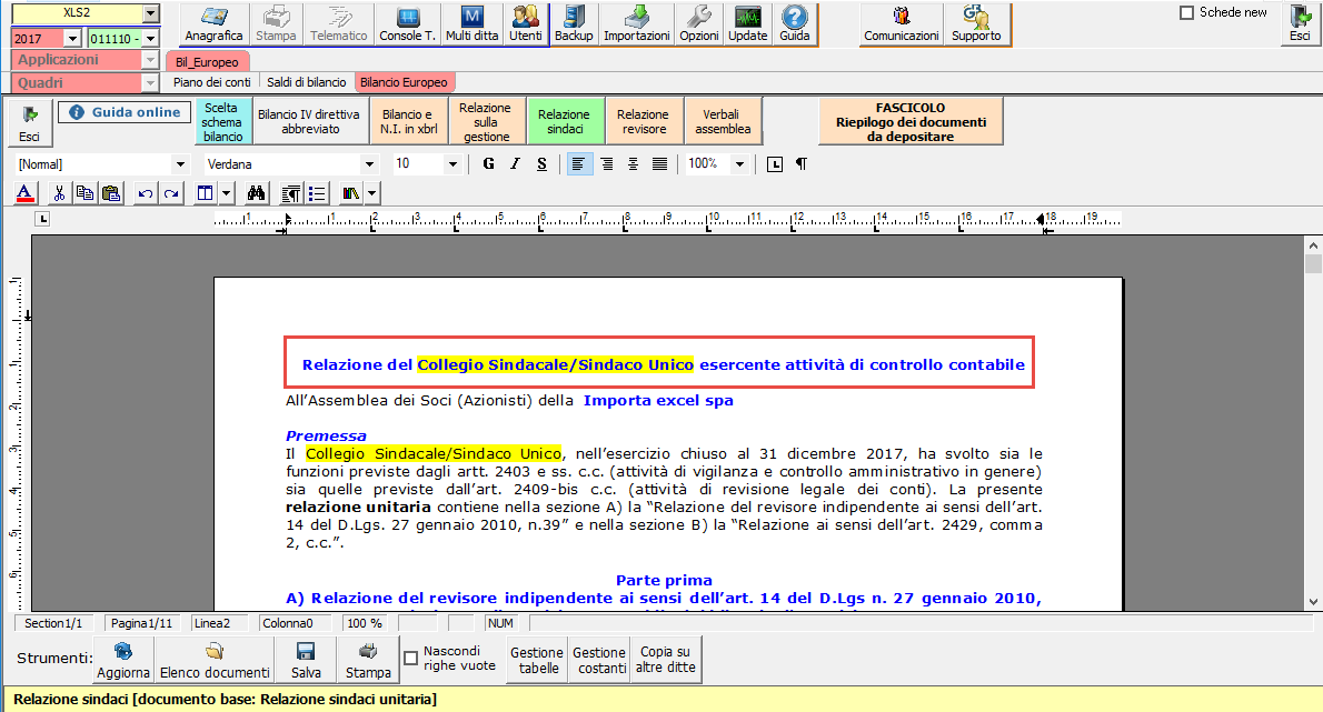 Software Relazione del Collegio Sindacale (Sindaco Unico) e Relazione del Revisore Legale (Società di revisione)