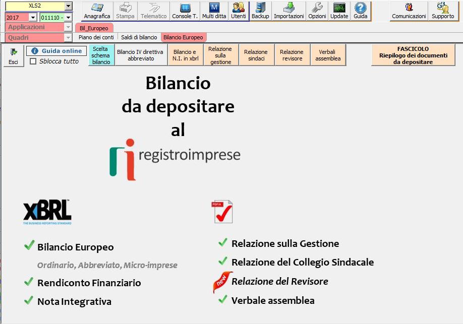 Software Bilancio Europeo 2018 XBRL e PDF/A