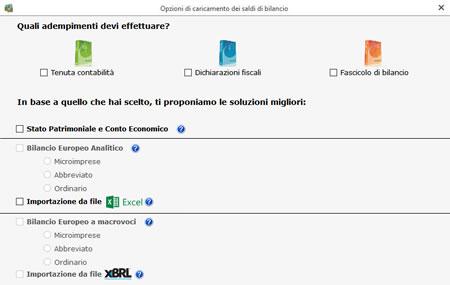 Software Bilancio Europeo - Importazione saldi di bilancio
