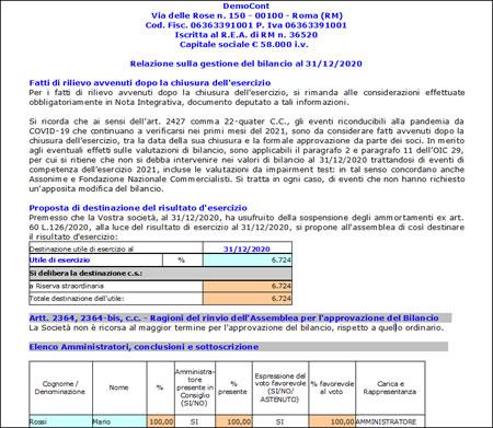 Software Bilancio Europeo - Relazione sulla Gestione