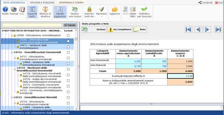 Software Bilancio Europeo - Tabella per gli ammortamenti sospesi
