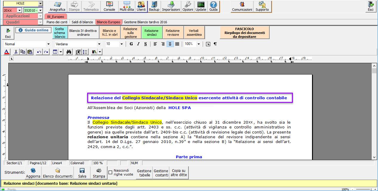 Software Relazione del Collegio Sindacale - Sindaco Unico