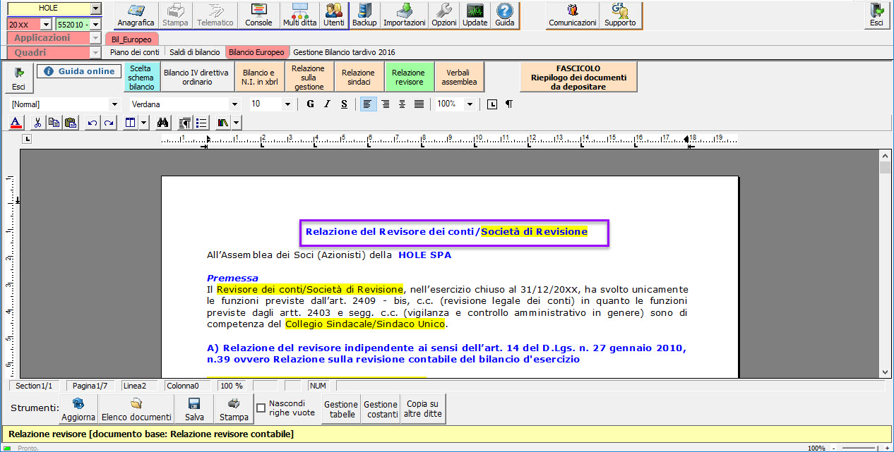 Software Relazione del Revisore dei conti - Società di revisione