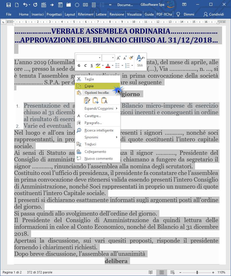 Verbale Assemblea in Bilancio: importarlo da Word e Open Office – fare copia incolla da esterno