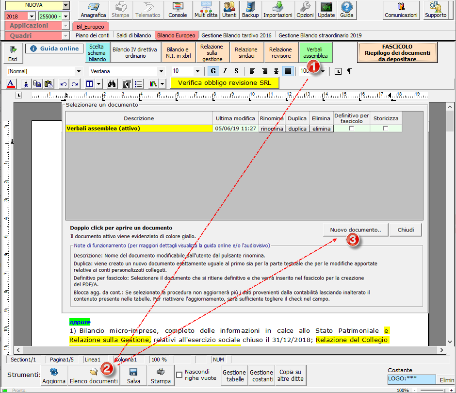 Verbale Assemblea in Bilancio: importarlo da Word e Open Office – importare verbale assemblea in software bilancio