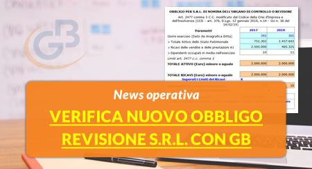 Bilancio 2019: Verifica nuovo obbligo revisione S.r.l. con GB